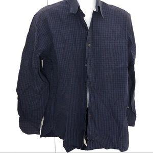 Tommy Hilfiger Blue & Black Plaid Button Large Top